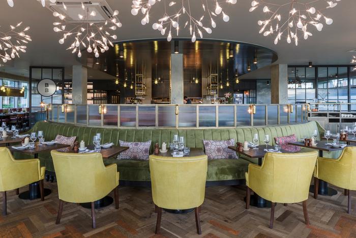 Brasserie blanc hammersmith riverside elliptical banquette